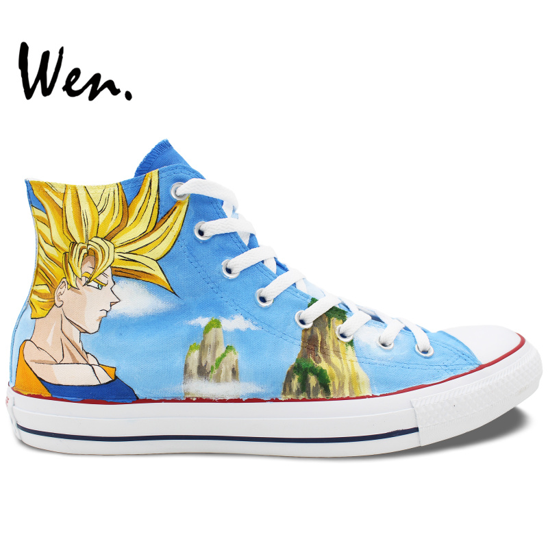 Wen Unisex Hand Painted Shoes Design Custom Anime Dragon Ball High Top Men Women's Canvas Sneakers for Birthday Gifts cute animal baby infant rattles toy baby bed stroller hanging cartoon animal rattle handbells toys for infant kids