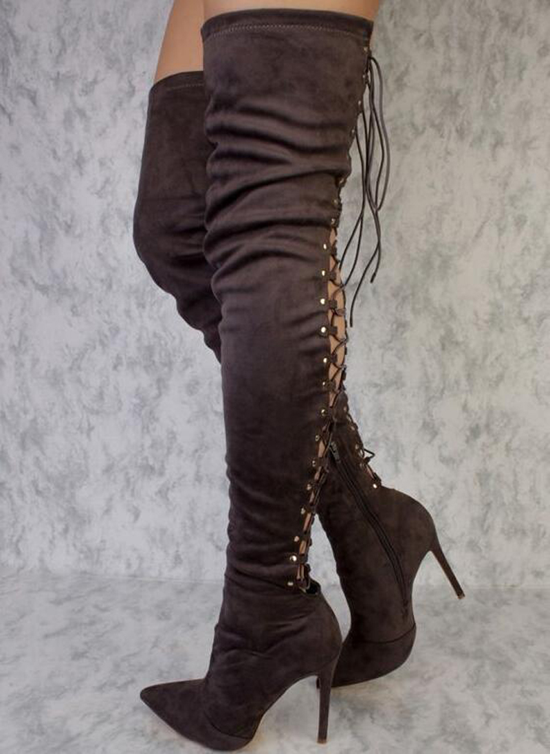 2017 Hot women Suede lace up thigh high boots cut-outs gladiator sandal boots over knee booty sexy club women boots 2017 summer newest hot sexy women narrow band high boots cut outs gladiator over the knee booty club boots women shoes