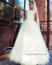 Free Shipping Good Price Italian Style A Line Boat Neck Sleeveless Sweep Train Tulle Skirt Wedding Gowns For Sale MF410