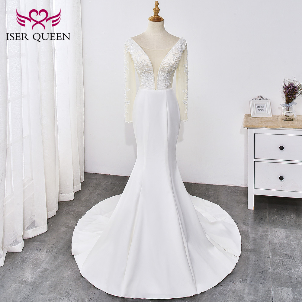 Sexy Deep V-neck Beading  Appliques Vintage Mermaid Wedding Dress Long Sleeves Soft Satin Lace Up Vestido De Novia WX0034