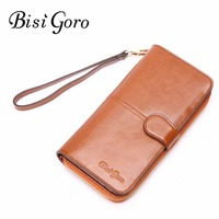 Bisi Goro Women Wallet 2017 Cow Leather Medium Long Organizer Wallet Cowhide Vintage Lady Clutch High