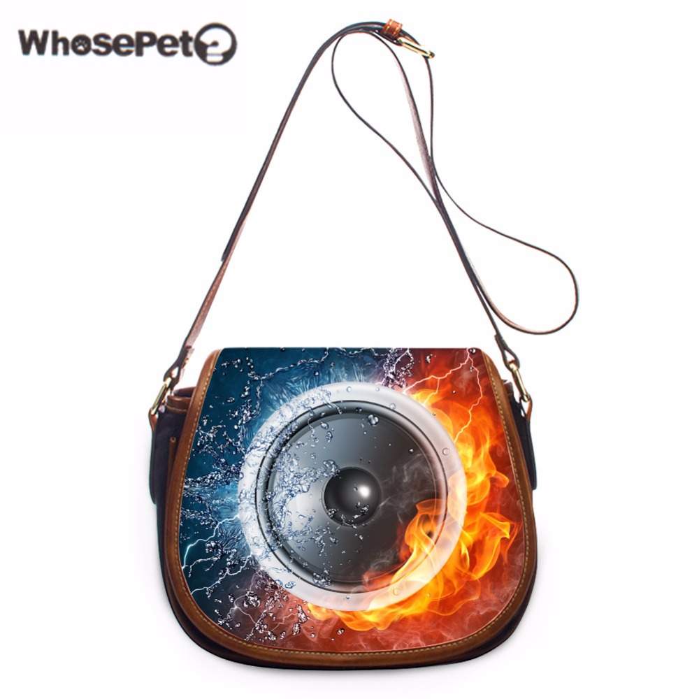 WHOSEPET Messenger Bags Pu Shoulder Bags Sound Printing Crossbody Purse Luxury Punk Style Girls Cross Body Bags Small Sling Bag whosepet eiffel tower small phone coin messenger purse iphone crossbody bag travel small satchel shoulder bags pu storage bag