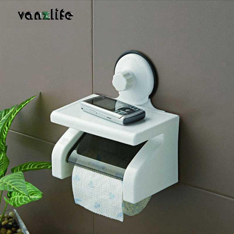 Vanzlife wasserdicht toilettenpapierrollenhalter leistungsstarke wandabsaugung mit tablett kein verletzen toilettenpapier rack