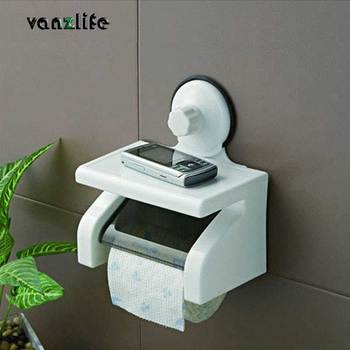 vanzlife waterproof toilet roll paper holder powerful wall suction with tray no hurting toilet paper rack