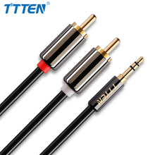 TTTEN RCA Audio Cable 2RCA Male to 3.5mm Jack to 2 RCA AUX Cable copper shell Splitter Cable for Home Theater iPhone Earphone