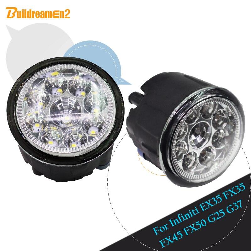 Buildreamen2 For Infiniti EX35 FX35 FX45 FX50 G25 G37 Car LED Light Fog Light Daytime Running Light 12V White Blue Yellow 1 Pair