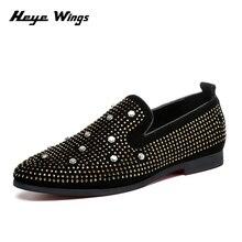 Heye Wings Korean version casual dress shoes rhinestone personality mens Rivet decoration
