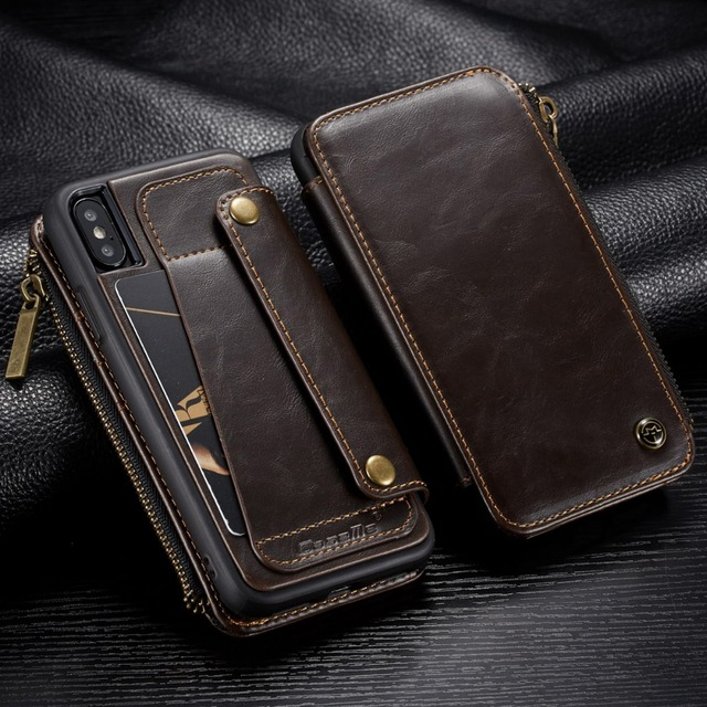 purchase cheap 2296b 75602 US $8.61 32% OFF|Detachable Leather wallet Case for iPhone X Zipper Pocket  Credit Card Slots Back Cover for iPhone XS MAX X XR 7 Case Coque Capa-in ...