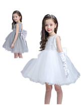 BABY WOW Baby Clothes Girl 1 Year Birthday Dress Christening Gowns Ivory Gray Bow Dresses Back