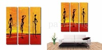 Handmade Abstract Style 3 Panels Africa Women Oil Painting Art for Home Decor Hand Painted Indian Sexy Dancer Fine Art Pictures