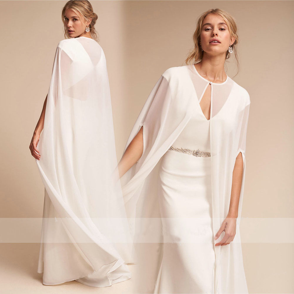 White Wedding Dress Jacket: 2019 Hot Women's Long Chiffon Cape Bolero White /Ivory