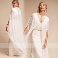 0d1abc88686 2019 chaud femmes longue en mousseline de soie cap boléro blanc ivoire  veste de mariage Cape robe de mariée enveloppes