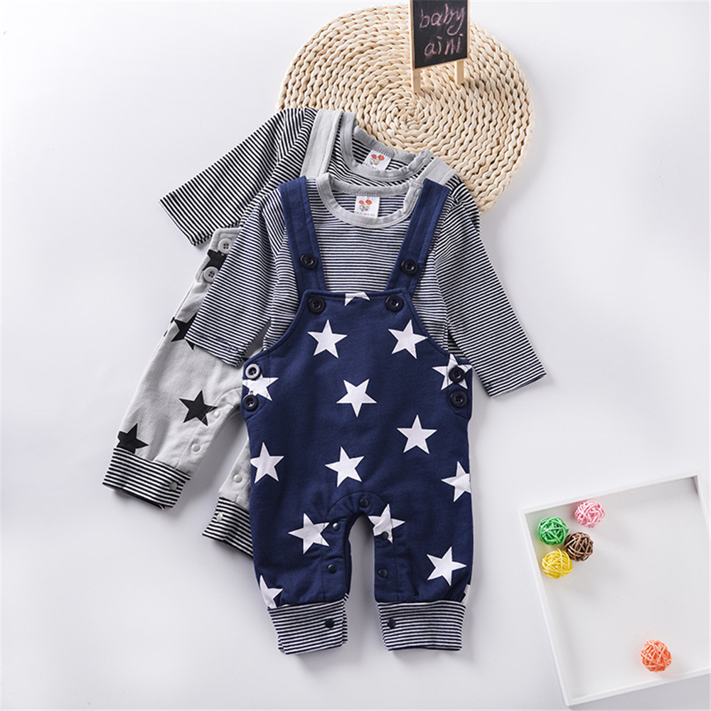 Baby Boys Male Infants Kids Long Sleeve Striped T-shirt Tops+Star Bib Overalls Long Pants 2pcs Clothing Set Suit a58 boys clothes brand 2017 autumn boys gentleman set baby boys striped long sleeve shirt denim long overalls pants 2pcs sets 4