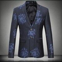 Men Blazer Flower Suit Jacket Men Quality New Winter Fashion Slim Fit Men Casual Blazer Jacket