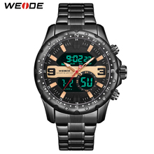 WEIDE Fashion & Casual Quartz Sport Water Resistant Watches Man Luxury Analog LCD Display Clock Black Stainless Steel Band Watch все цены