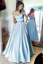 Light Blue V Neck Evening Dresses 2019 Fashionable Off Shoulder A Line Floor Length Satin Stunning Satin Long Formal Party Gowns недорго, оригинальная цена