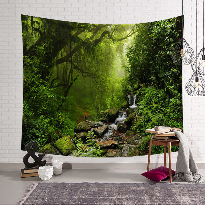 Psychedelic Forest Tapestry Wall Hanging Wall Tapestry Blanket Farmhouse Decor Window Tapestry Headboard Polyester Yoga Shawl