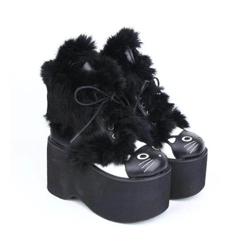 Angelic Schuhe Lolita Frau Dame Handgemachte Mädchen Mori Heels Katze Winter Frauen 33 Prinzessin Gesicht 47 Schwarzes Stiefeletten High Impressum Stiefel rc8F6qvxrn