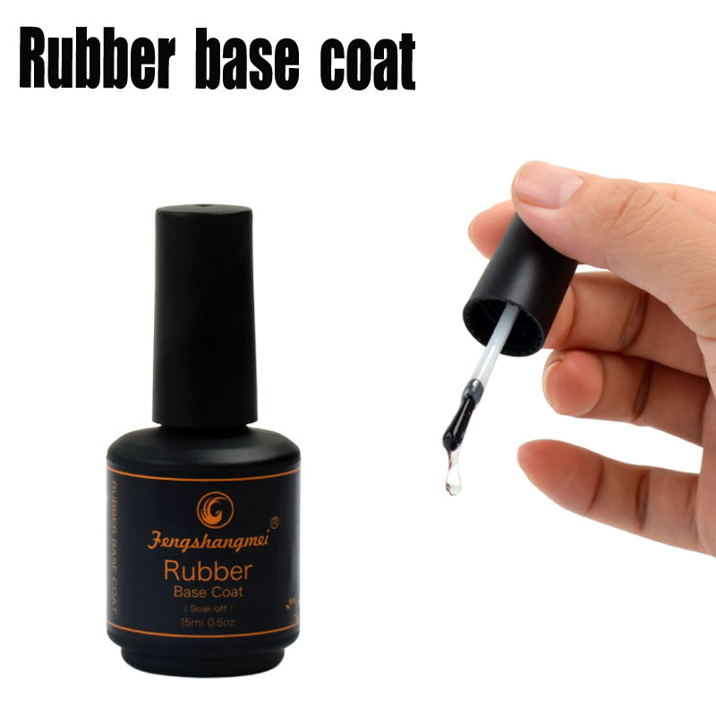 fengshangmei 15ml Long Lasting Rubber Base Coat Gel Nail Polish Matte Rubber Top Coat UV Gel Varnishes Art Design Foundation vogue nails набор rubber base база и rubber top топ