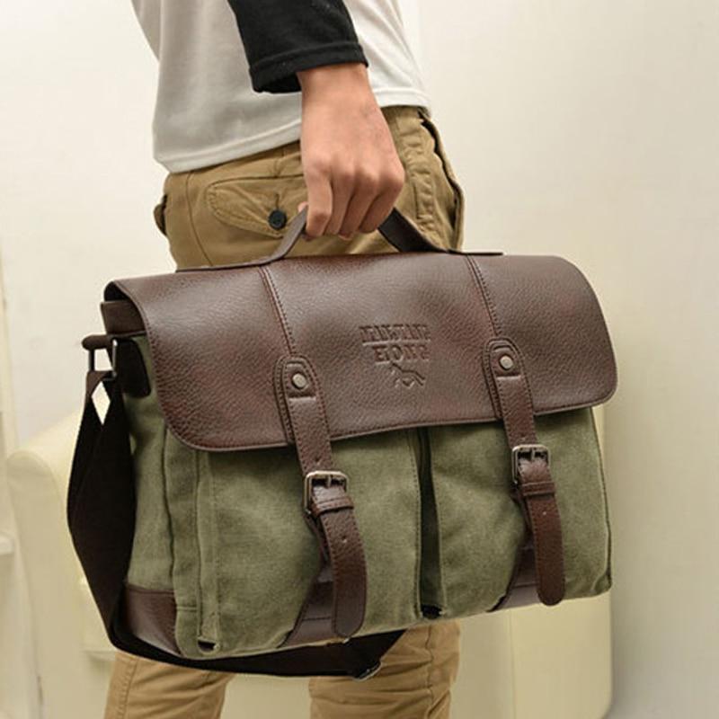 2018 Fashion Military Canvas Men Briefcase Business Bag laptop case men Shoulder Bag Canvas Briefcase tote bag Handbag crossbody-in Briefcases from Luggage & Bags    1