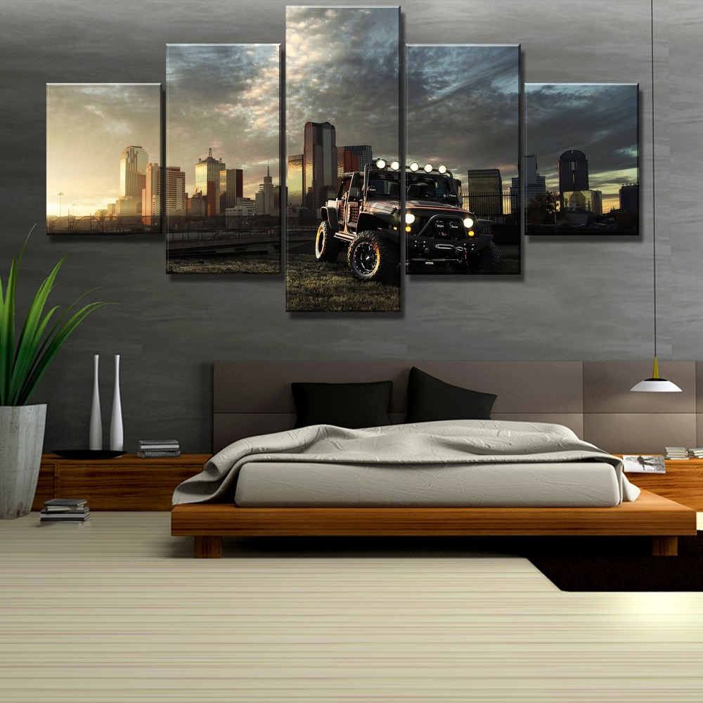 Modular 5 Piece HD Printed Large Car Poster Cuadros Decoracion Paintings on Canvas Wall Art for Home Decorations Wall Decor in Painting Calligraphy from Home Garden