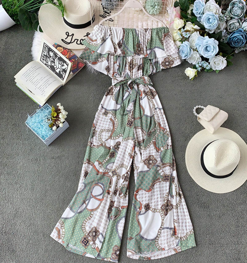 Nicemix Women Summer Print High Waist Sashes Loose Chiffon Jumpsuits Casual Lady Jumpsuit 2019 Summer