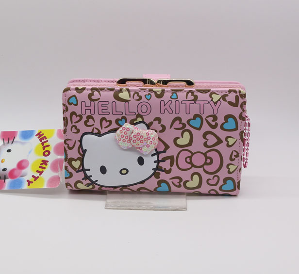 Hello Kitty Fashion long wallet female 2016 news Zipper famous brand women cat wallets High quality PU white color dollar price