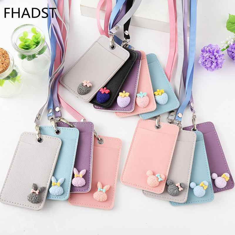 FHADST Cartoon Candy Leather Card Holder Students Bus Card Case Lanyard Girl Cute Rabbit Door Work Identity Badge 2 Cards Cover