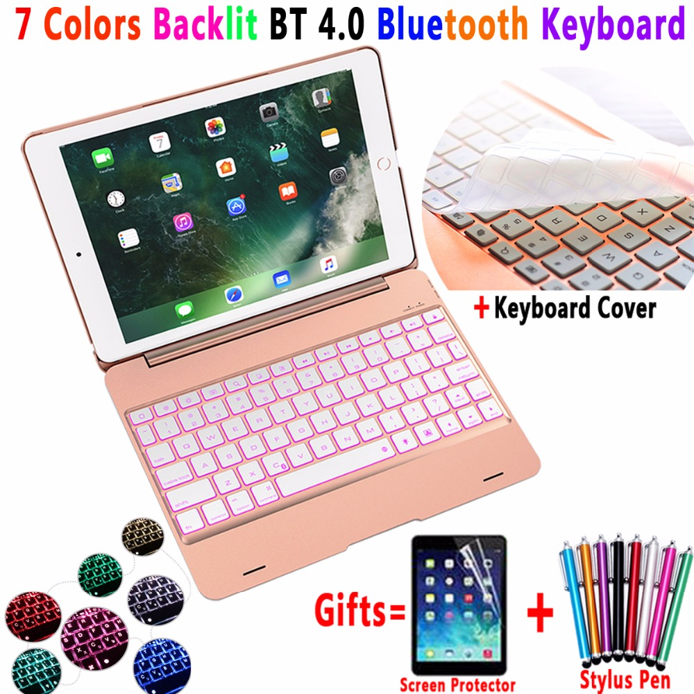 7 Color Backlit Aluminum Alloy Wireless Bluetooth Keyboard Smart Case Cover for Apple iPad 9.7 2017 2018 Air 1 A1822 A1893 A1954 7 color backlit aluminum alloy wireless bluetooth keyboard smart case cover for apple ipad mini 4 7 9inch a1538 a1550 coque capa