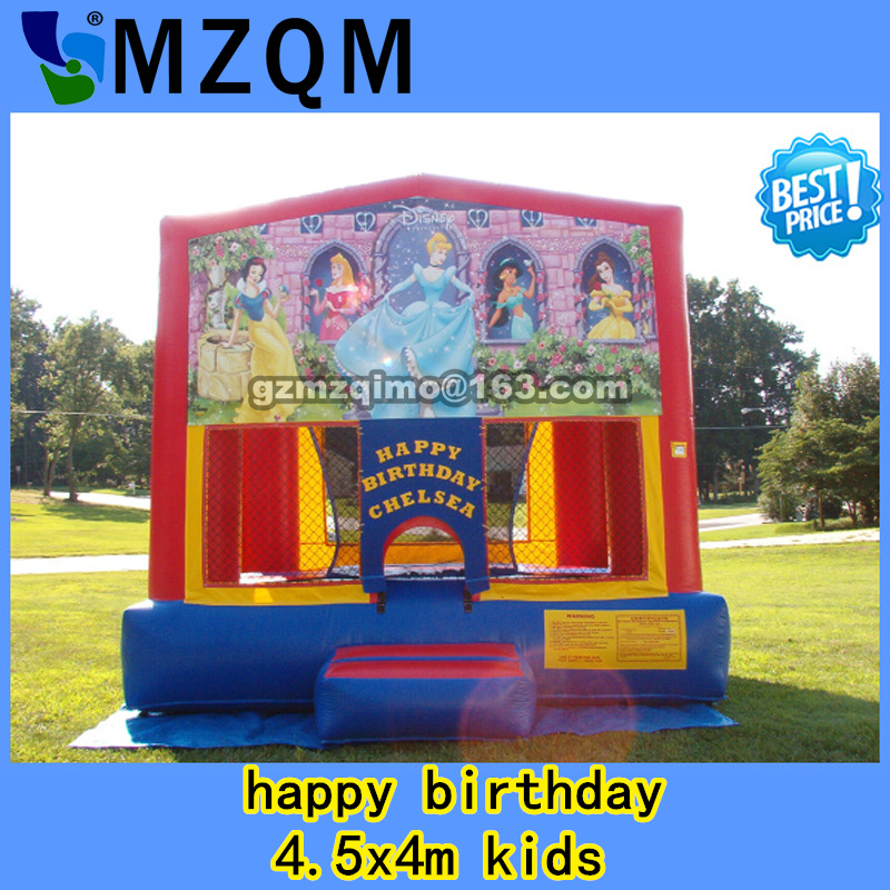 happy birthday 4.5x4m kids commercial Bouncy Castle Inflatable jumping Castle Jumper Trampoline Bounce House Inflatable Bouncer