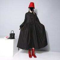2016 New Autumn Long Dress Women Plus Size Black White Solid Color Loose Shirt Dress Casual