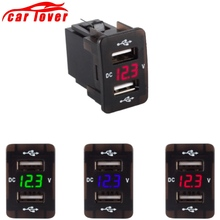 DC 12-24V Dual USB Port Car Charger Cigarette Lighter Socket Power Adapter with LED Digital Voltmeter Meter Monitor 2