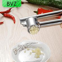 BVZ Stainless Steel Garlic Press Crusher Ginger Garlic Grinding Grater Extrusion Tool Vegetable Cooking Tool Kitchen Accessories manual stainless steel pressure garlic garlic ginger squeeze creative kitchen tool 16cm 5cm free shipping
