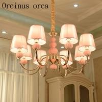 Estilo europeu moderno lustre sala de estar sala de jantar quarto americano led lustre princesa quarto das crianças rosa lâmpada