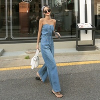 2019 Fashion Mujer High Waist Jeans Women's Denim Wide Leg Pants New One piece Halter Tube Top Style Jumpsuit Women Waisted