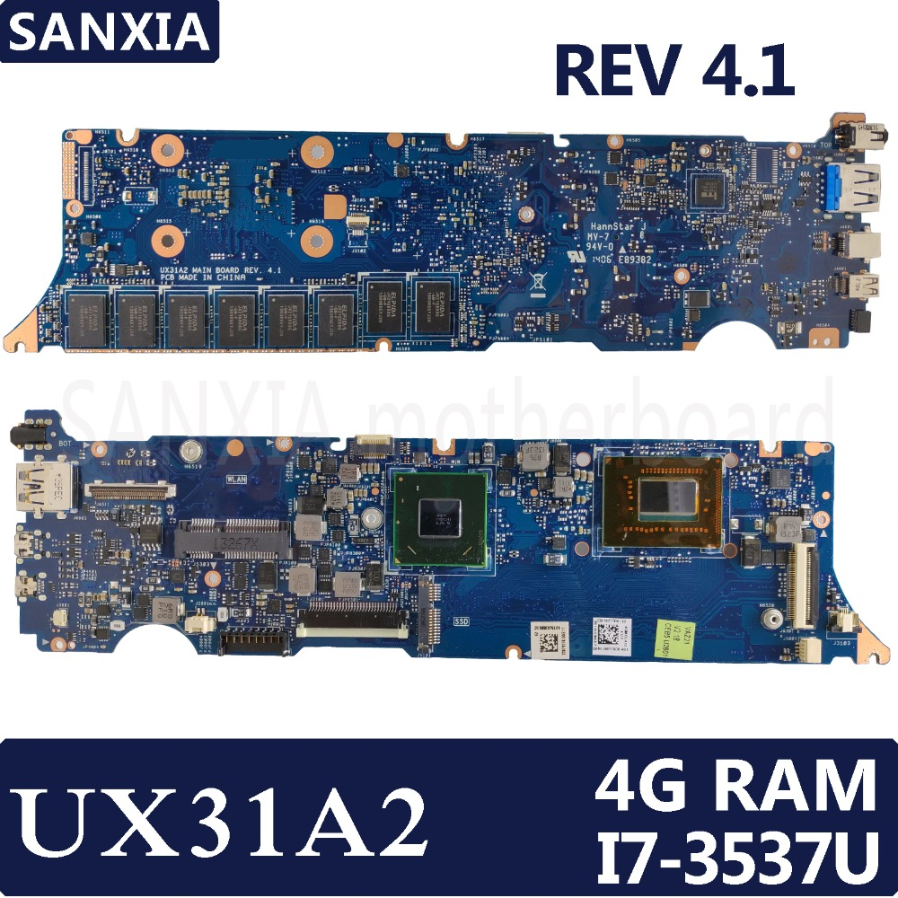 KEFU UX31A2 Laptop motherboard for ASUS UX31A Test original mainboard 4G RAM I7-3537U REV4.1 original zenbook for asus ux31a laptop motherboard ux31a rev2 0 mainboard processor i7 4g memory 100