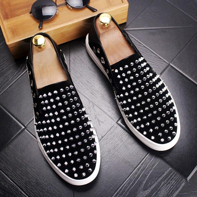 Hommes mode fête discothèque robe en cuir véritable chaussures sans lacet rivet chaussure été respirant fumeur pantoufle homme mocassin sapatos - 2