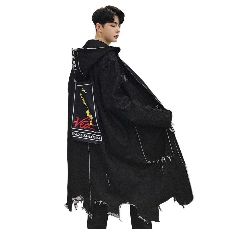 Denim   Trench   Coat Men Long Hoody Coat Harujuku Men Oversized Long Coat Jacket Hip Hop Streetwear Printed Coat