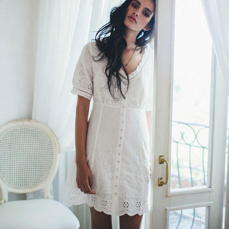 1e622b8d3e1 TEELYNN BOHO Lace Play dress Women 100% Cotton V-neck Dresses Short Sleeves  floral