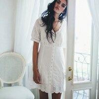 TEELYNN BOHO Lace Play dress Women 100% Cotton V neck Dresses Short Sleeves floral Pattern Hollow Mini Dress White Summer dress