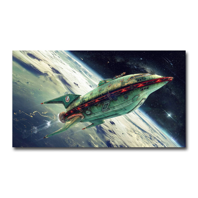 Futurama Starship Cartoon Anime Silk Poster Wall Art Print 12x21 24x43 inch Decoration Pictures Wallpaper Living Room Decor 001