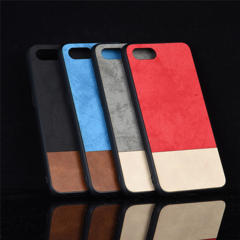 Oppo A1k case Oppo A1k A1 K silicone edge fabric shockproof back cover coque PU leather hard For Oppo A1k CPH1923 phone case