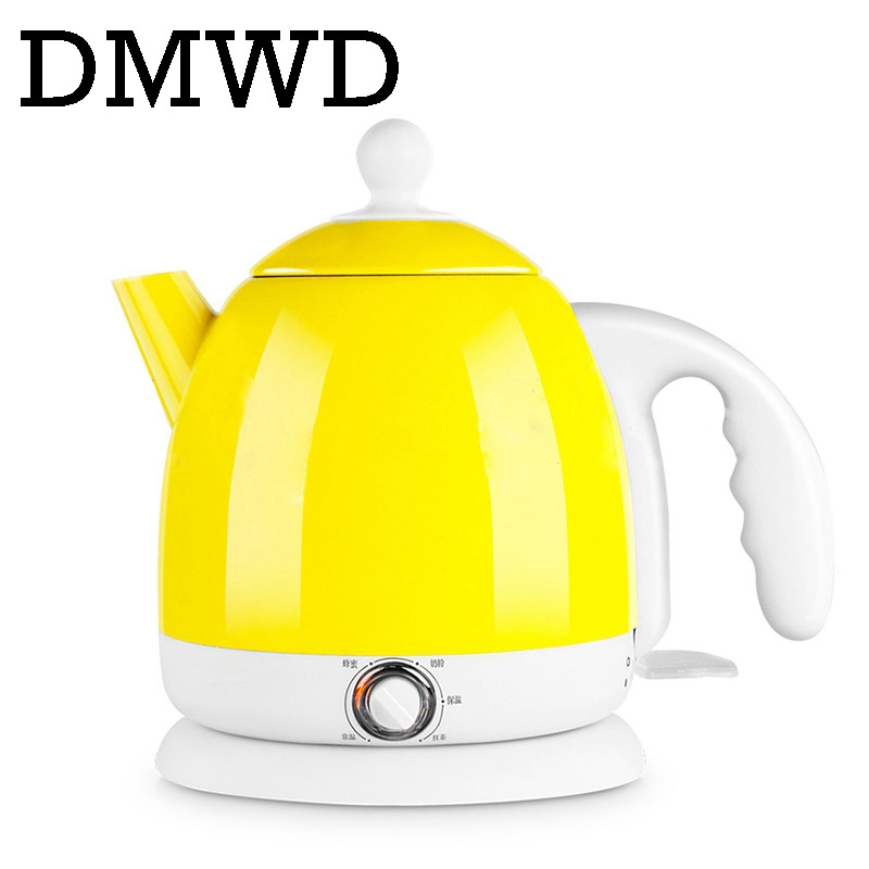 DMWD Thermal insulation electric kettles hot water Auto heating Boiling pot Stainless Steel 0.8L mini teapot milk heater Warmer dmwd 110v multifunction electric skillet stainless steel hot pot noodles rice cooker steamed egg soup pot mini heating pan