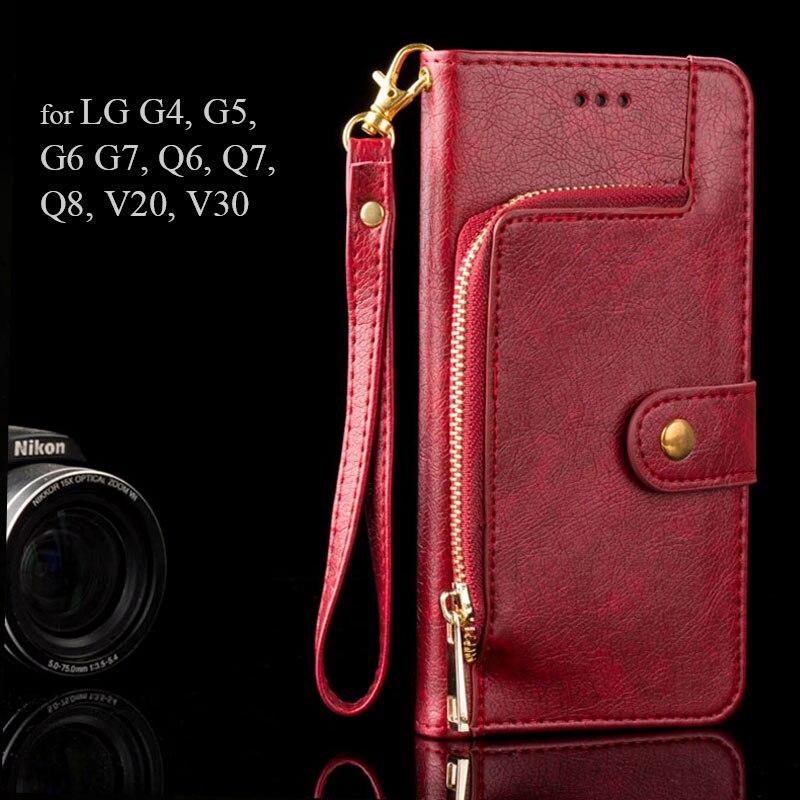 Funda de lujo para LG G5 G6 G7 Q6 Q7 Q8 cremallera Cartera de diseño de cuero de la PU de coque fundas para LG v20 V30