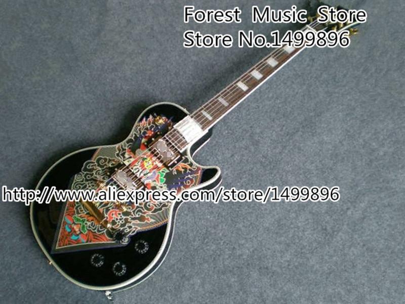 Hot Selling Custom Shop Black LP Electric Guitar Binding Muti-color China Pattern Guitarra Body Custom Available hot selling chinese black lp custom electric guitar mahogany guitar body
