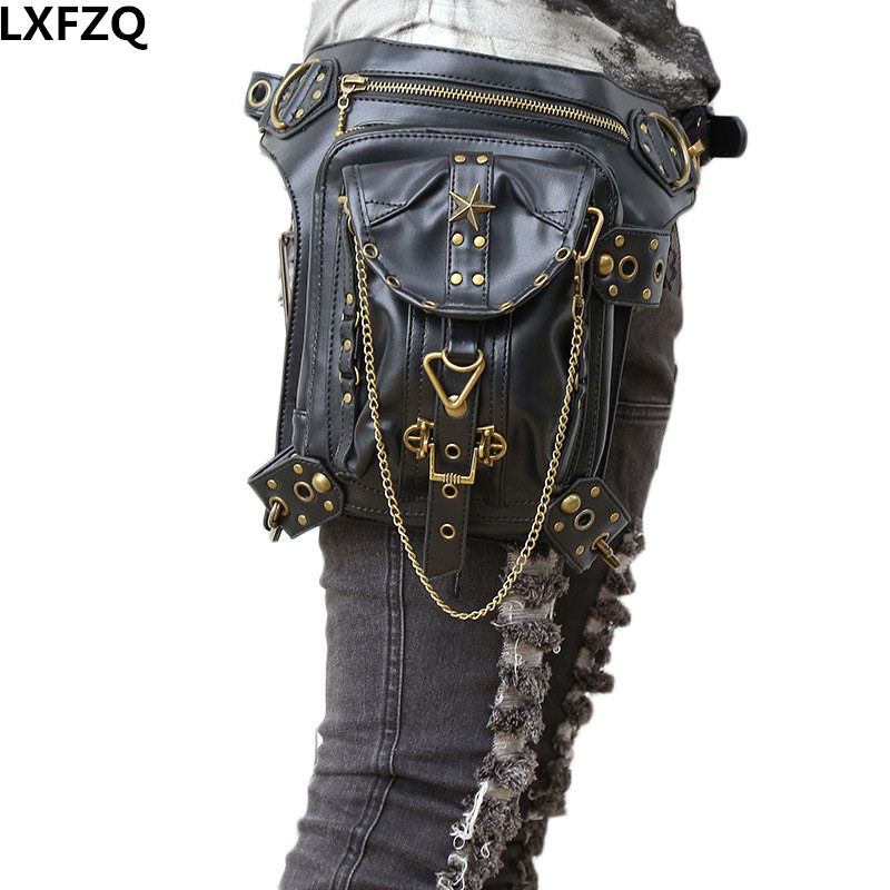 carteras mujer bag Steampunk thigh Motor leg Outlaw Pack Thigh Holster Protected Purse Shoulder Backpack Purse leather women bag