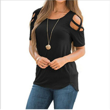 Women Summer 2019 Tshirt Casual Short Sleeve Tops Tees Sexy Off Shoulder Solid T-Shirt O-neck Loose Plus Size 2XL Shirts sexy off shoulder tshirt women summer t shirt solid color hollow out short sleeve loose casual tees tops plus size streetwear