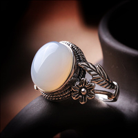 Silk Princess Silver 925 Silver Vintage Ring natural white pulp female authentic Moon