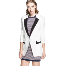 Women Blazer Hit Color Patchwork Three Quarter Sleeve V-neck And Midum-long Slim Suit Women Blazers And Jackets JT79