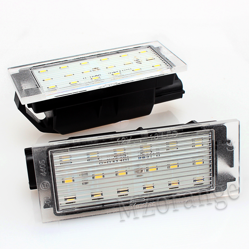 2 pcs Car LED Number License Plate Light SMD3528 For Renault Megane Clio Laguna 2 Megane 3 Twingo Master Vel Satis 2005-2020